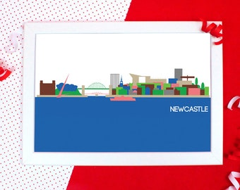 Cityscapes Print - Newcastle Print - Newcastle Skyline Wall Art - Graphic Print of Newcastle - Holiday Souvenir