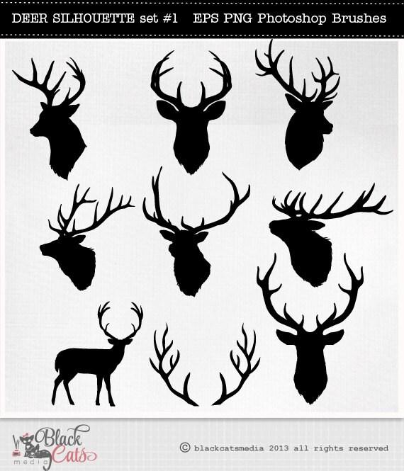 Deer Head Silhouettes Reindeer Antlers Clipart