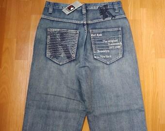 New KARL KANI jeans, old school deadstock baggy loose vintage blue, 1990s hip-hop, 90s hip hop clothing, gangsta rap, og, size W 32 NWT