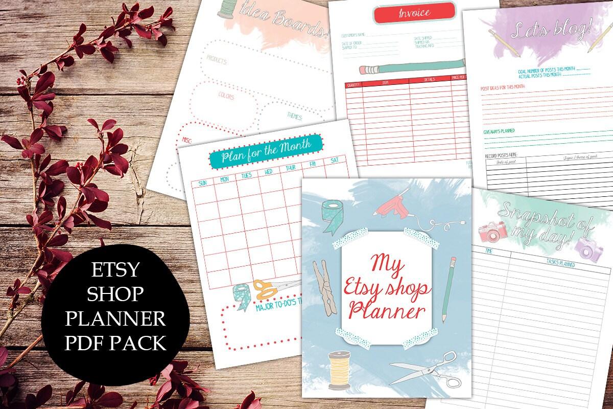 Etsy shop planner printable Etsy business plan goals invoice
