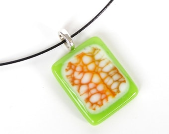 Lime Green Fused Glass Pendant Necklace - Orange Beige Design - Handmade Glass Jewelry - One of a Kind Pendant