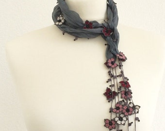 Silk Wrap Scarf, Silk Necklace, Boho Dark Gray Wrap Scarf, Crochet Oya Beaded Scarf, Flowers Foulard, Beaded Jewelry, Beadwork ,