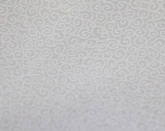 White on white swirl fabric, cotton quilting fabric by the yard
