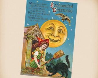 Halloween Witch New 4x6 Vintage Postcard Image Photo Print HA06