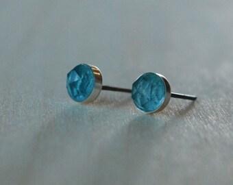 London Blue Topaz Gemstone Titanium Earrings Studs / 6mm Rose Cut Cabochon Bezel Set / Sensitive Ears Earrings