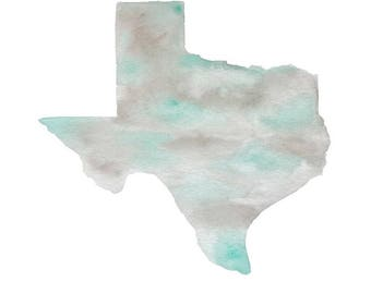 Watercolor Texas PRINT   turquoise, gray, outline