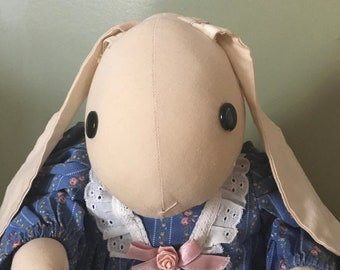 Hand Made Fabric Floppy Ears Cotton Tail Bunny Rabbit* Dark Blue Button Eyes*Blue Floral dress* 11 T. Sitting*