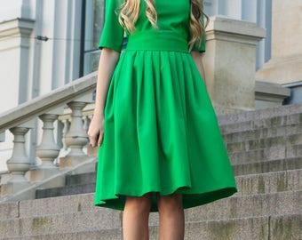 Green Dress, Pleated Dress, Women Dress, Pretty Dress, Bridesmaid Dress, Elegant Green Dress, Ball Dress, Fall Dress, Midi Dress