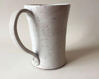 White stoneware mug