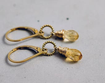 Topaz Earrings, Topaz Jewelry, Imperial Topaz, Gold Earrings, Drop Earrings, November Birthstone, Birthstone Earrings, Birthstone Jewelry