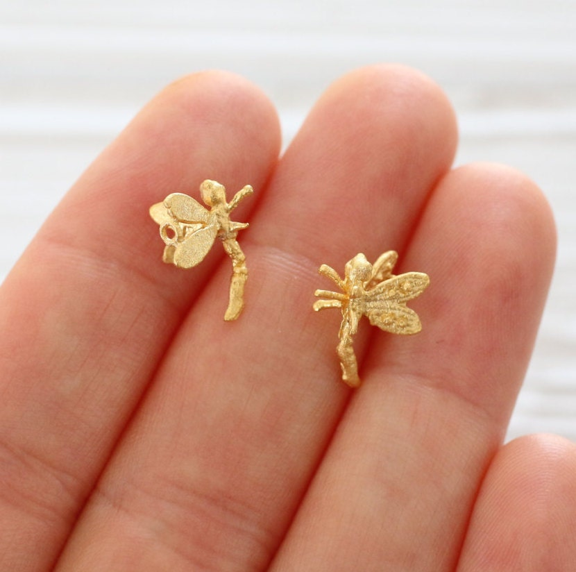 5pc mini butterfly charm, gold charms, earring charms, butterfly ...