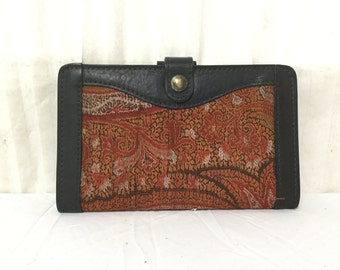 Black Leather Wallet ,Red Paisley Fabric