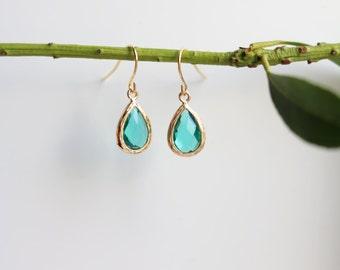 Zircon Earrings - Gold Dangle Earrings - Stone Earrings - Drop Earrings - Birthstone Earrings - Blue Earrings - Gold Earrings
