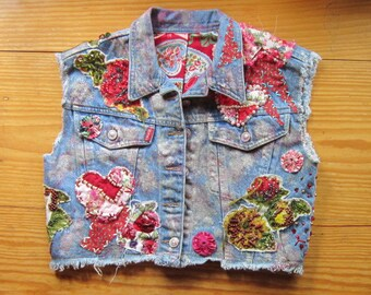 OOAK Embellished Vintage Cropped Denim Vest HEARTS and FLOWERS - Fully Lined and Beaded - Upcycled Repurposed Recycled Clothing