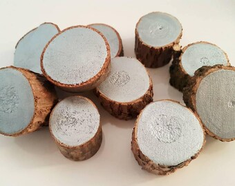 10 x Small Painted Wood Rounds / Wood  Slices / Loose Parts Play / Montessori / Waldorf / Open Ended Play / Small World