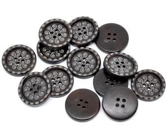 6 Dark Brown Wooden Buttons - Swirl Design - 25mm - 1 inch -  2 hole - Wood Button