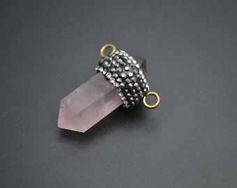 Natural Rose Quartz Pillar Paved Crystal Beads Two Loops Pendant