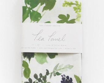 Herb Composition - Watercolor Tea Towel