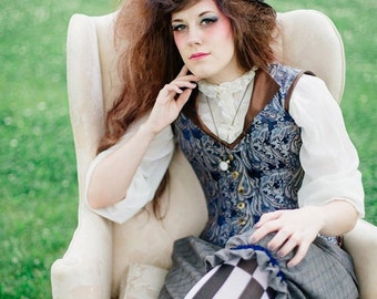 Mad Hatter Steampunk Corset Vest - Overbust Boned - Fairytale Alice in Wonderland -Custom to your size