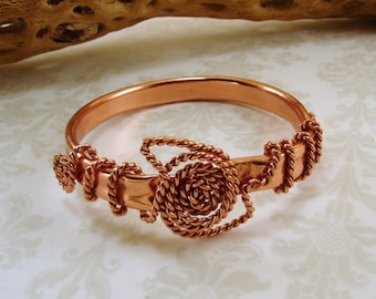 Copper with Twisted Copper Wire Bangle