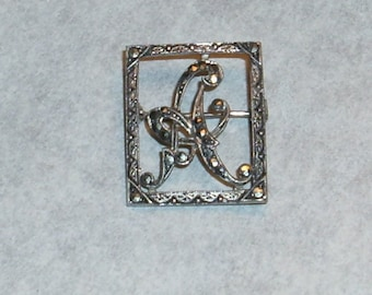 """Sterling silver """"A"""" marcasite pin"""