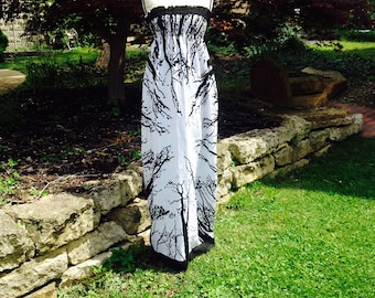 Tree Branches Gateway to the Heavens Maxi Strapless Black and White Dress
