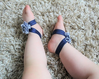 Nautical Navy Blue White Flower Baby Barefoot Sandals