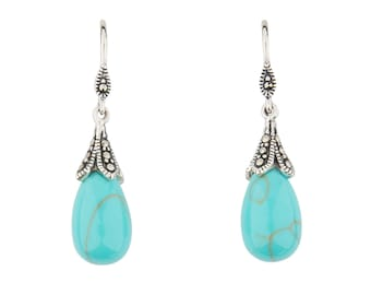 Clover Drop Earrings   Turquoise, Marcasite and Sterling Silver