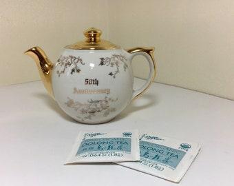 Vintage Wedding Anniversary Keepsake Teapot Golden 50th Tea for Two