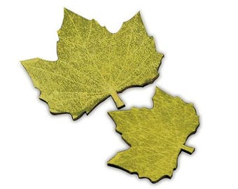 Maple Leaf Decorations - Autumn Fall Wedding Table Decor - Green Wooden Leaves Place Markers - Pack of 12 - MW16219
