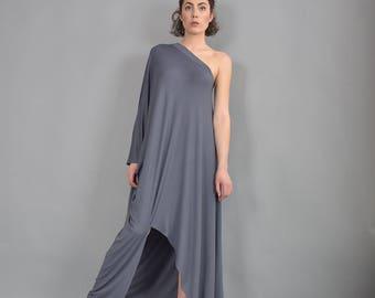 Gray Maxi Dress, Dress, Long Dress, Party dress, Asymmetric dress, Woman dress, Maxi Dress, Loose Dress, Summer Dress, UrbanMood - UM-216-VL