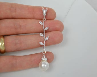 Cubic Zirconia Crystal Necklace Swarovski Pearl Vine Leaves Sterling Silver or Rose Gold Filled Chain Bridal- Will Ship in 1-3 Business Days