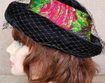 Vintage Women's Black Velvet Veiled Hat