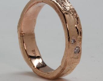 Tree Bark Ring  14k Rose Gold 2 Diamonds, made in NYC, Blue Bayer Design