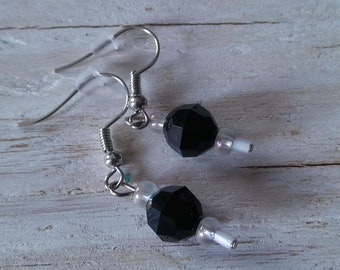 black and crystal beaded dangle earrings / black and crystal white dangle earrings