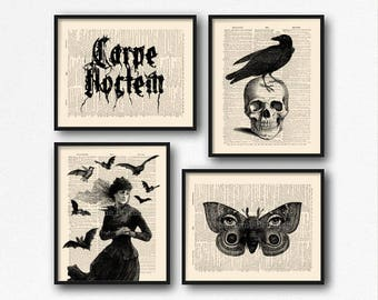 Vampire Print Set, Skull Head Decor, Cool Girlfriend Art, Mystery Xmas Gift, Hocus Pocus Print, Carpe Noctem, Cool Boyfriend Gift, Geek  S44