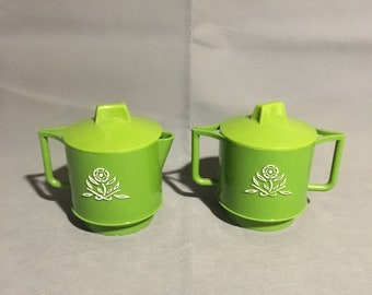 Vintage Retro Cream and Sugar Set in Green Plastic with Raised Floral Design