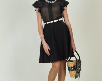 Polka dot dress. Chiffon dress. Black dress. Combined dress. Jersey dress. Contrast dress. Spring dress. Casual dress. Party dress.