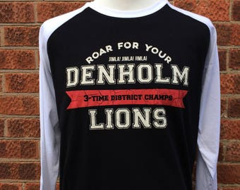 Denholm Lions raglan shirt, Inspired by Stephen King 11/22/63, Horror tshirt, Gift for booklover, Horror t-shirt for Constant Readers