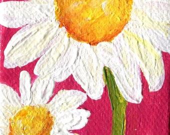 Shasta Daisy Painting, Pink mini canvas art, mini easel, original Flower artwork, acrylic painting, mini canvas, SharonFosterArt