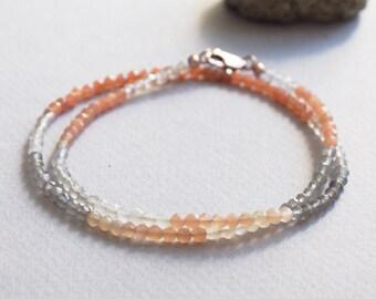Delicate Moonstone Gemstone Wrap Bracelet w/ 14k Rose Gold, Minimal Healing Jewelry, 2mm Apricot Peach Grey Cream Semi Precious Stone Beads