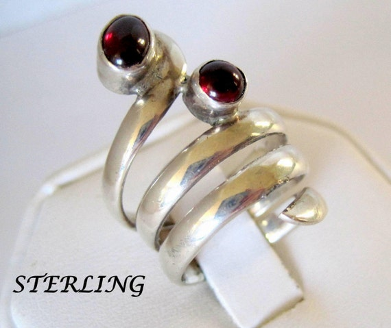 Sterling Garnet Ring, Bypass Ring, Wrap Size 6, Wraps the Finger, Statement Ring