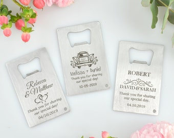 25 x Engraved Credit Card Bottle Opener Wedding Favour