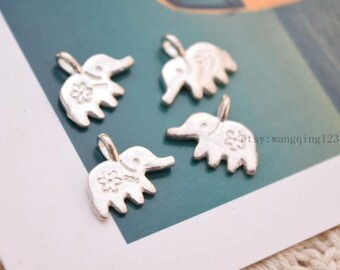 4 pcs tiny elephant charms pendants in sterling silver, JT1