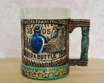 Vintage Mug with Faux Wood Appearance and Bird and Bottle Inn by Napcoware