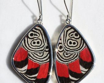 Large Cramers 88 Butterfly Wing Silver Dangle Earrings