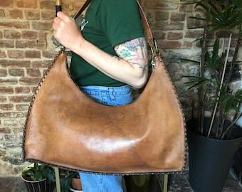 Vintage Handbag / Leather bag 60s / Shoulder bag / large tote bag