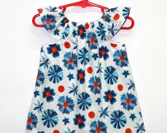 Organic cotton, baby dress, baby girl dress, organic baby dresses,organic dress,organic kids clothes,organic baby, blue, red,Blooms