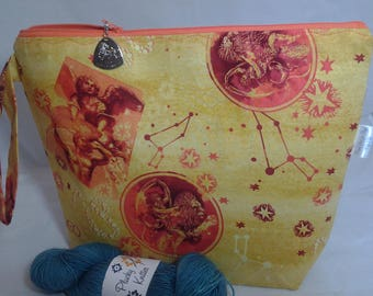 Leo DPN, Leo Wedge project bag, Zodiac Leo crochet bag, Travel Leo bag