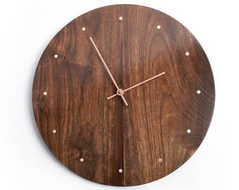 Solid Wood Wall Clock - walnut maple oak or cherry